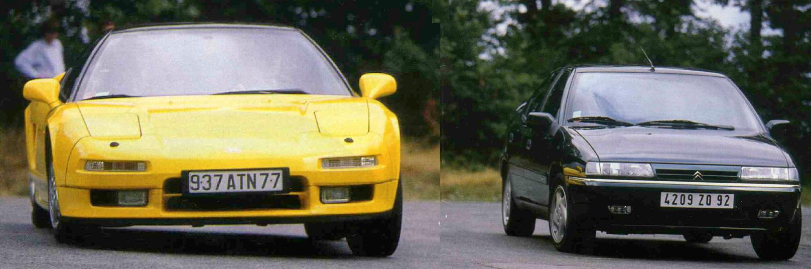 Face à la Honda NSX, dans le même virage, la Xantia Activa est nettement plus à l'aise