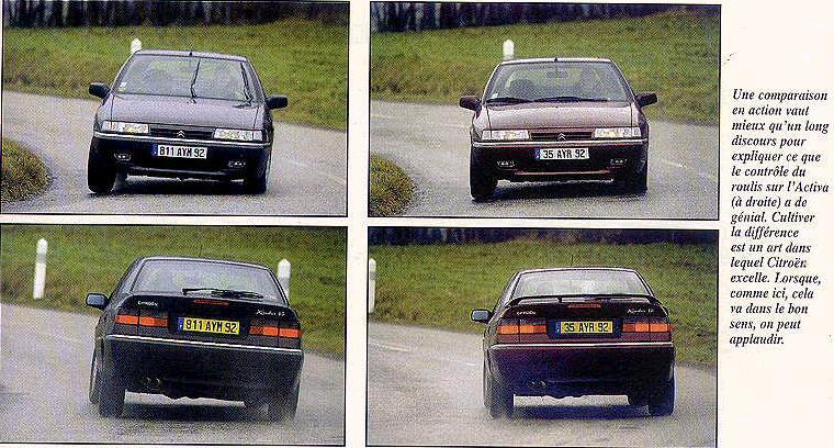 Deux Xantia V6 dans les mêmes conditions. La première en suspension Hydractive, avec un contrôle du roulis déjà élaboré; la seconde est une Xantia Activa.